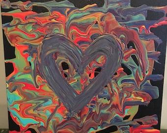 Heart Acrylic Canvas Painting