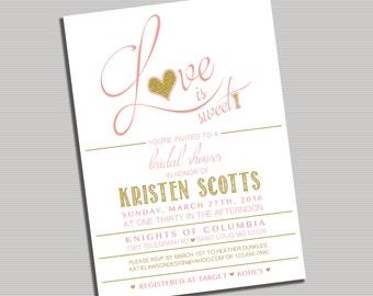 Love is Sweet Bridal Shower Invitation- Printable DIGITAL file
