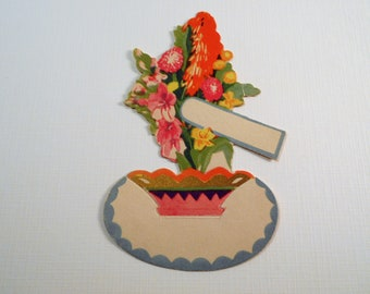 Vintage Art Deco Flower Tally Placecard, P F Volland Co Placecard, 1920s-1930s Unused Die Cut Placecard, Fold & Stand Placecard