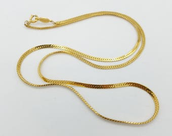 Vintage Signed Napier Polished Gold Tone Serpentine Chain Necklace - 24""