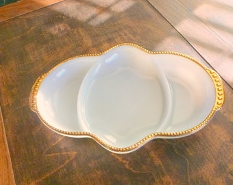 Fire King Divided Dish, 50s Milk Glass, Divided Tray Gold Trim, Relish Tray, Candy, Nuts, White Serving Dish