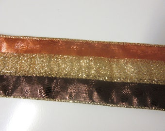 "5 YARDS-15 FEET-2 1/2"" Wired Fall Ribbon-Amber, Brown, and Gold Glittered Wired Fall Ribbon"