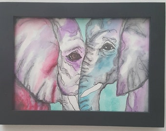 elephant love original watercolor painting frame not included