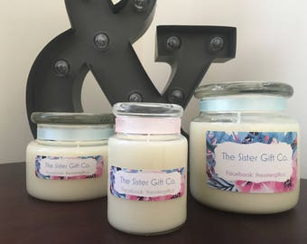 Gorgeous Hand poured soy wax candle. Choice of size & Scents. The Sister Gift Co.