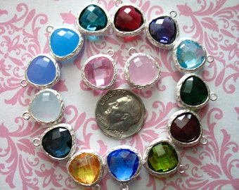 10% Off Sale..  Gemstone Pendant Charm, choose glass gem, Bezel Pendant Charm, Gold or Silver Plated, 16x13 mm, gp1.mm wf