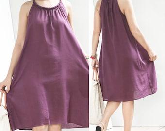Cotton Boho Summer Dress With Braided Neck, Comfy Casual Beach Sleeveless Halter Dress, Knee Length in Purple