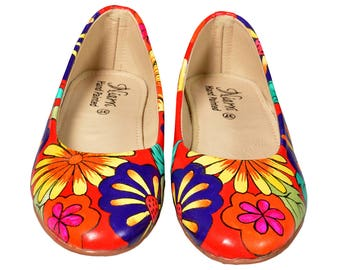 Hand Painted Genuine Leather Ballerinas - Red Blossom