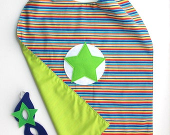 Kid's Cape and Mask - Superhero - Green - Blue - Mask - Cape - Dress Up - Multi Color - Toddler Gift - Kid's Gift - Boy - Birthday - Stripes
