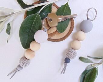 Wooden Bead Keyring   Bag Charm   Keyring  Keychain  Key Fob   Accessories   Zipper Charm