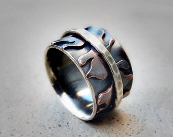 Fire Dancer Flame Ring, Spinner, Mixed Metal, Sterling Silver, Copper, Boho, Comfortable, Wide Band, Mystical, Hip