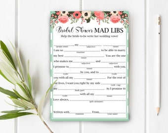 Baby Shower Mad Libs Turquoise Floral Gender Neutral Boy