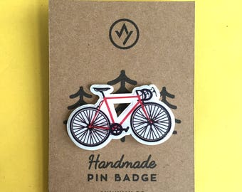 Road Bike Pin Badge, Handmade in Sheffield