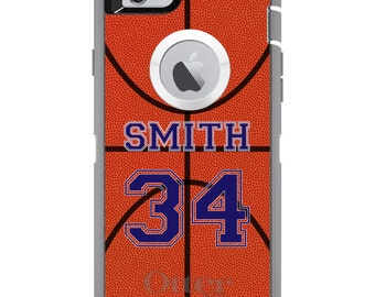 CUSTOM OtterBox Defender Case for Apple iPhone 6 6S 7 8 PLUS X 10 - Personalized Monogram - Basketball Purple Number Name