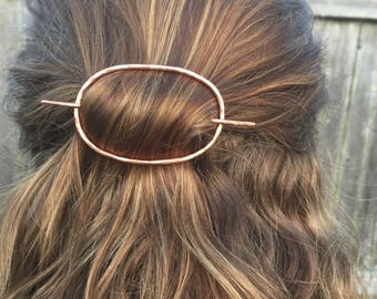 Hammered Copper Oval Hair Clip- hair stick handmade geometric barrette boho minimalist gift for her hand forged yoga hair pin