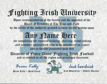 NOTRE DAME fighting irish~  basketball ~ football fan ~certificate ~ diploma ~gift ~sign ~ man cave ~ office ~ dorm