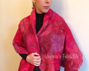 Felted shawl red asters nuno felt