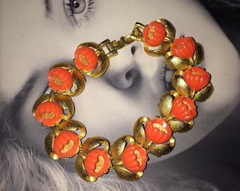 Vintage Mid Century Bracelet 1950's Lucite Bracelet Gold Metal Bracelet 1960's Lucite Bracelet