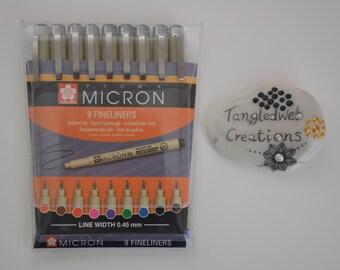 Set of 9 Sakura pigma micron coloured pens