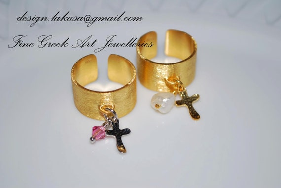 Ring Chevalier Sterling Silver Gold plated Cross Charm with Pink Swarovski Crystal or Freshwater Pearl Religious Jewelry Handmade Greek Art