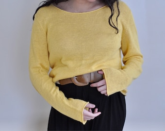 vintage marigold knit sweater/ bell sleeves/ boat neck/ lightweight sweater/ s-m