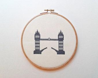 London Tower Bridge - Modern cross stitch pattern PDF - Instant download