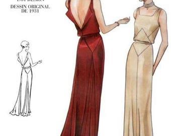 1930s Art Deco Backless Evening Gown Drape Square Neck Vogue 2241 Uncut FF Size 10 Bust 32.5 Women's Vintage Sewing Pattern