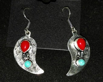 Red Coral and Turquoise Paisley Earrings