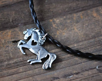 Horse Necklace | Horse Heart Necklace | Pony Charm | Equestrian Jewelry | Heart and Horse Pendant | Horse Lover Gifts | Gifts for Her