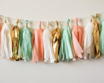 Peach Mint Ivory Gold Tassel Garland, Peach Mint Baby Shower Decoration, Nursery Garland, Peach Mint Gold Bridal Shower, Peach Mint Wedding