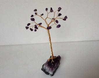 February handmade Gemstone tree. Birthstone wire tree sculpture. Amethyst geode gift. T6