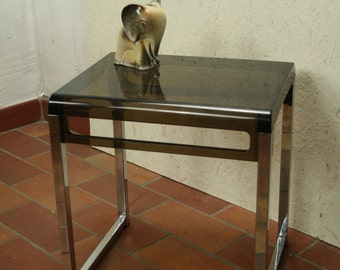 70s metal [ chrome ]and smoked plastic side table..