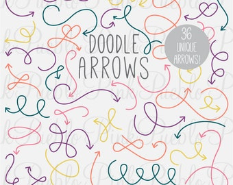 Doodle Arrows Photoshop Brushes, Hand Drawn Curly Arrows Photoshop Brushes - Commercial and Personal Use