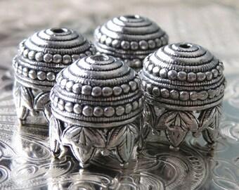 Maharaja Antique Pewter 10mm Bead Cap : 4 pc