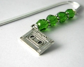 Cassette Tape Bookmark with Green Beads Silver Plated Steel Bookmark Shepherd Hook