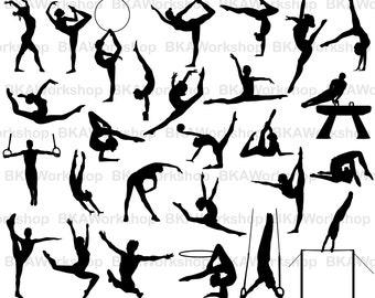 Gymnastics svg - Gymnastics vector - Gymnastics Silhouette - Gymnastics digital clipart for Design or more, files download svg, png, dxf