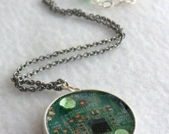 Green Circuit Board Recycled Pendant SN289