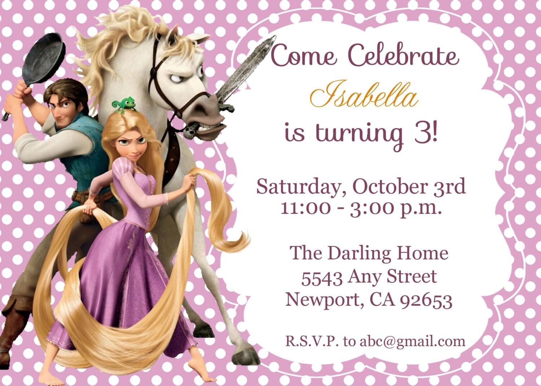 Tangled Rapunzel Invitation Disney Princess Kid's