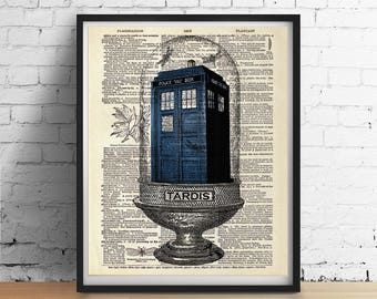TARDIS Terrarium Art Print, Dr Doctor Who Blue British Police Box Booth, Vintage Dictionary Art Poster, England Wall Art Decor - Many Sizes