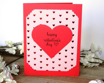Handmade Valentine's Day Card, Shiny Red Hearts on a Pink Background, Happy Valentine's Day, Red Card, Blank Inside,Free Shipping