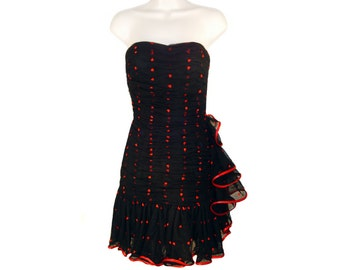 Vintage Black Party Dress, Red Hearts, Vintage 1980s