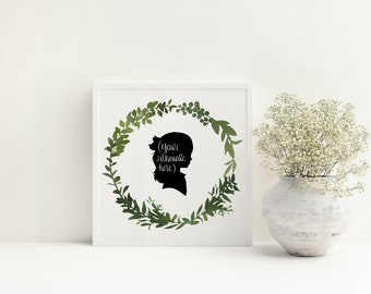 Printable Art: Watercolor Wreath featuring custom silhouette created by Patti /instead of waiting for mail, you print