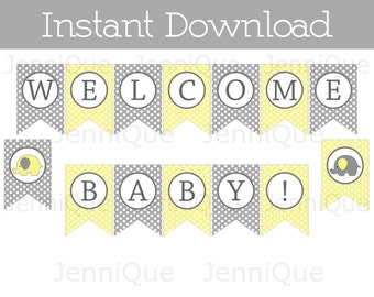 Printable Welcome Baby Banner, Yellow and Gray Elephant Baby Shower Decoration, Printable Banner, Gender Neutral Baby Shower Idea