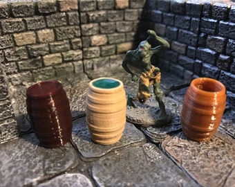 28mm Scale Role-Playing Game Miniature Barrels