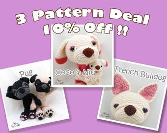 PDF Amigurumi / Crochet Pattern Special 3-Pattern Deal: Sleepy-Eye Pug, Coco and Niu, French Bulldog CPD-16-3315