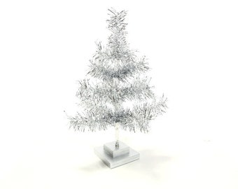 18'' Silver Tinsel Christmas Holiday Tree
