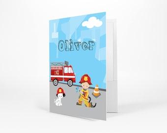 Firefighter Personalized Folder - Firefighter Boy Girl Fire Truck Sky Road, Customized Pocket Folder 2 Horizontal Pockets Back to School