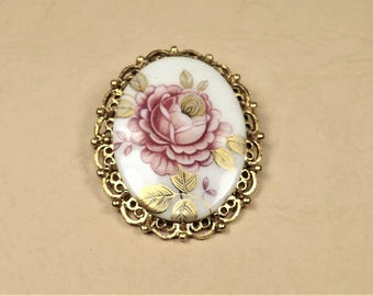Limoges Style Brooch, Pink and Gold Rose, Romantic Flower Brooch, Brooch / Pendant, Vintage Collectible Jewelry, Estate Jewelry