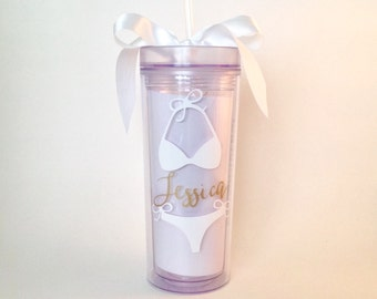 Set of 3 Personalized Bachelorette Bikini  and Wedding Acrylic Skinny Tumblers