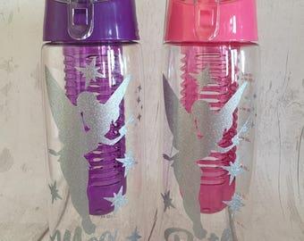 Personalised - Any Name - Glitter Tinkerbell Inspired Fruit Infuser Water / Drinks Bottle
