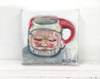 Santa Mug original small mixed media still life painting by Polly Jones